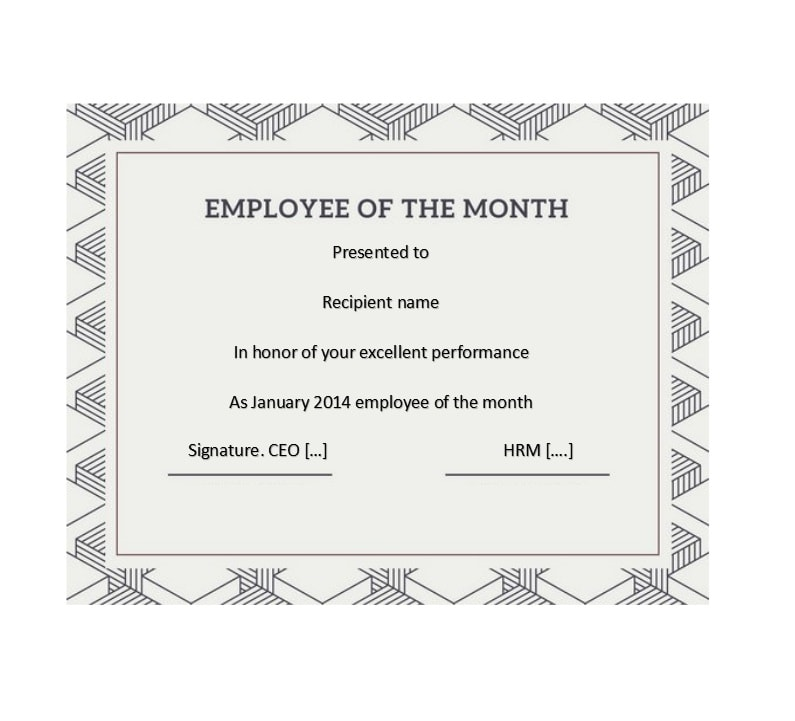 30+ Printable Employee of the Month Certificates - Template Archive - employee certificate sample