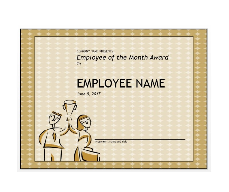 30+ Printable Employee of the Month Certificates - Template Archive - Award Paper Template