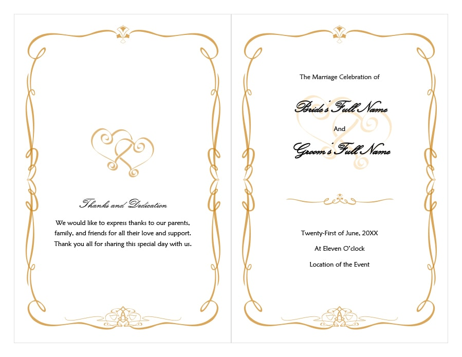 40+ Free Event Program Templates / Designs - Template Archive - wedding program inclusions