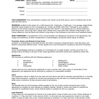 39 Simple Room Rental Agreement Templates - Template Archive - renters agreement