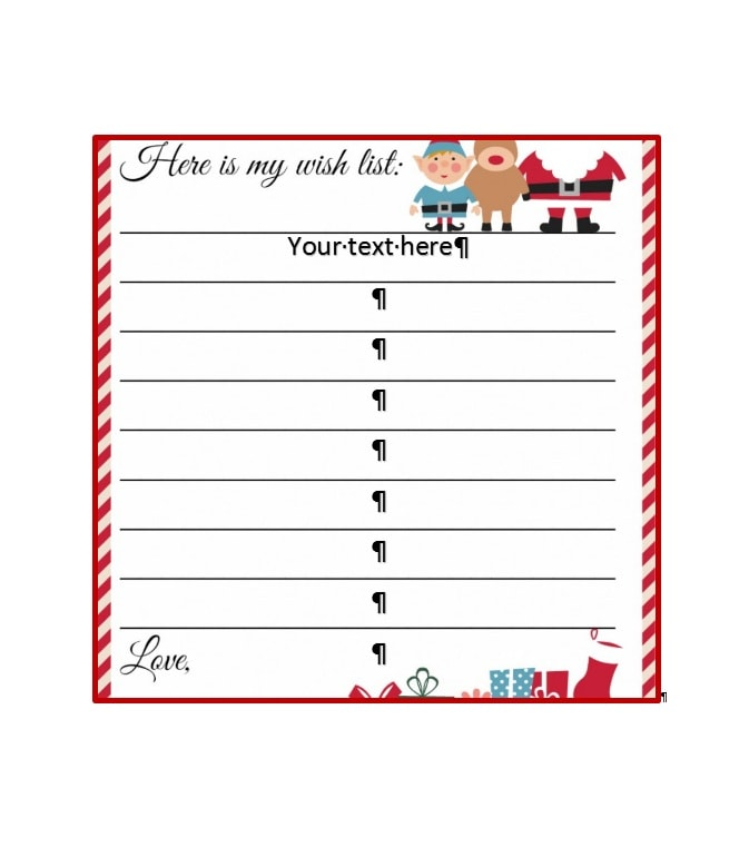 Christmas Wish List Paper - staruptalent - - christmas wishlist template