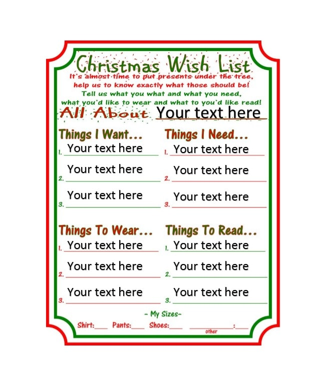 Beautiful Christmas Wish List Printable Images - Administrative