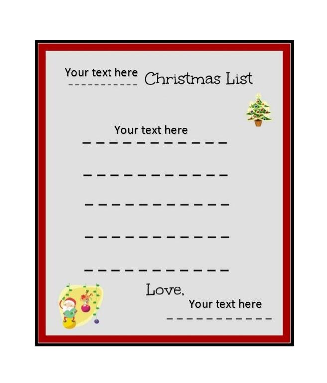43 Printable Christmas Wish List Templates  Ideas - Template Archive - christmas list template free
