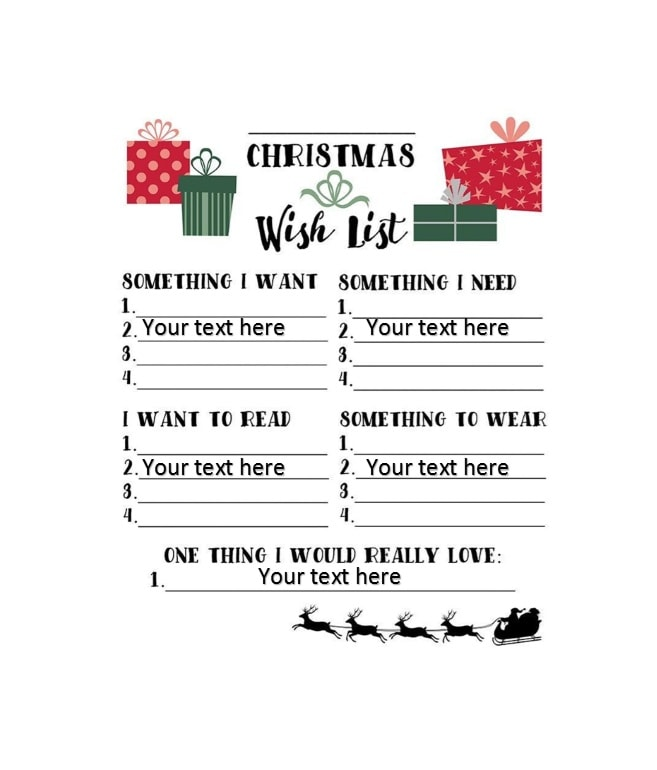 Christmas Wish List Template Images - Template Design Ideas