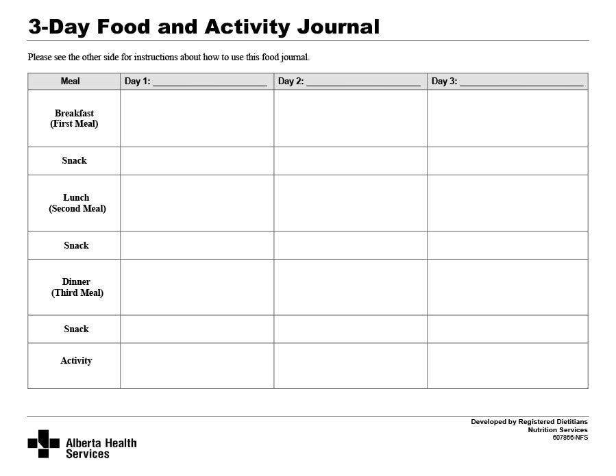 meal journal template - Ozilalmanoof - food journal templates