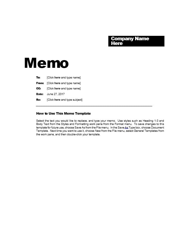 Business Memo Templates - 40 Memo Format Samples in Word - sample business memo