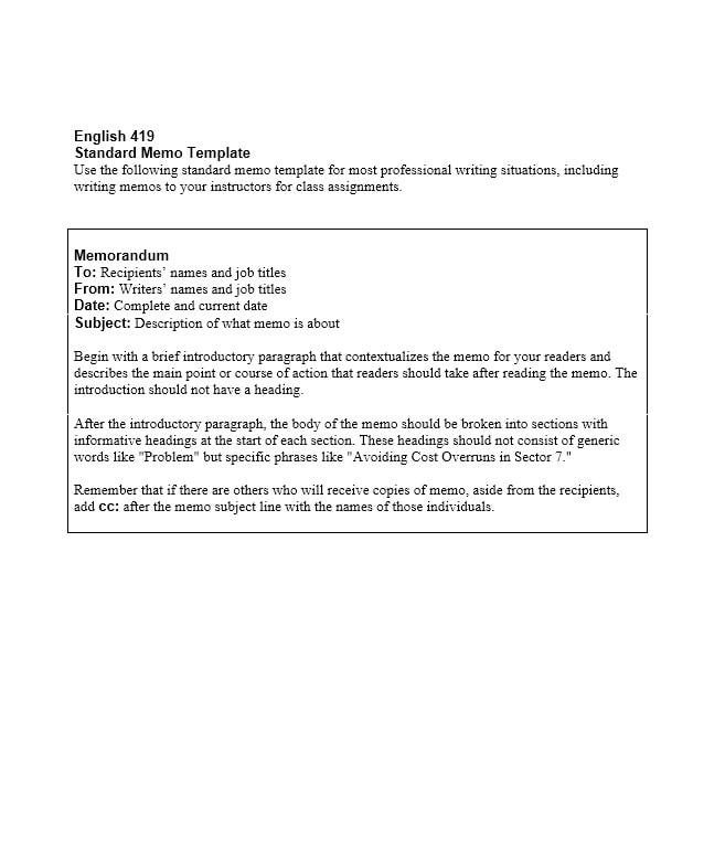 Business Memo Templates - 40 Memo Format Samples in Word - sample professional memo