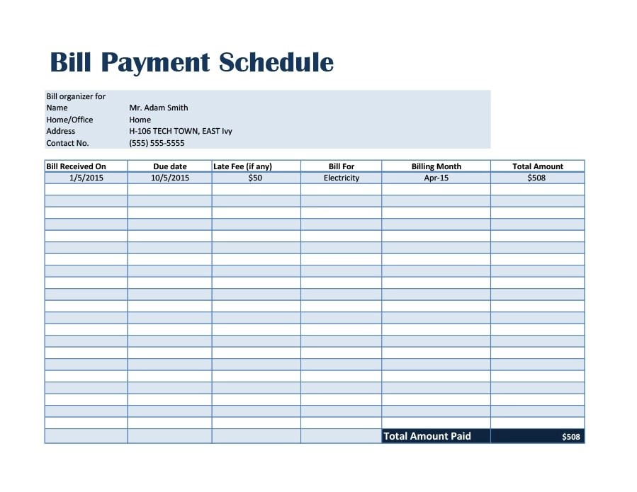 33 Great Payment Plan / Schedule Templates - Template Archive - monthly payment template