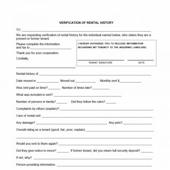 29 Rental Verification Forms (for Landlord or Tenant) - Template Archive - Tenant Information Form