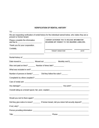 29 Rental Verification Forms (for Landlord or Tenant) - Template Archive