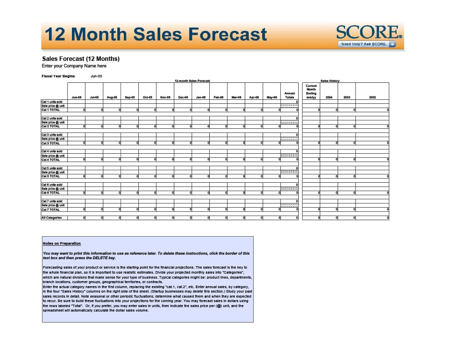 39 Sales Forecast Templates  Spreadsheets - Template Archive - Sales Forcast