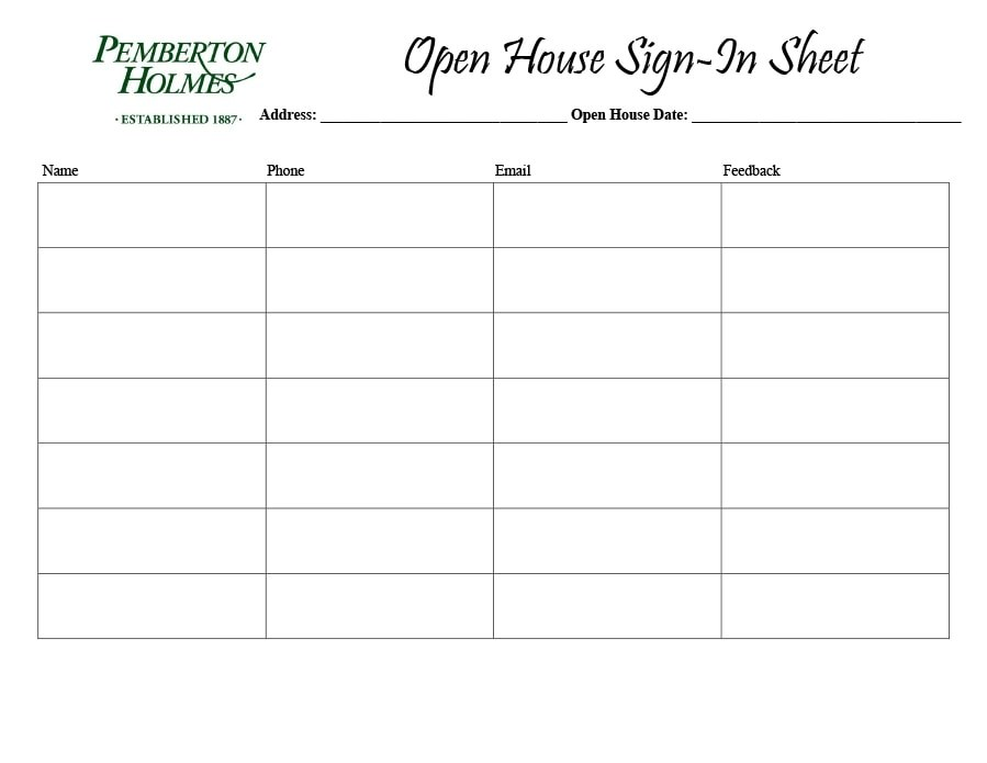 30 Open House Sign in Sheet PDF, Word, Excel for Real Estate Agent