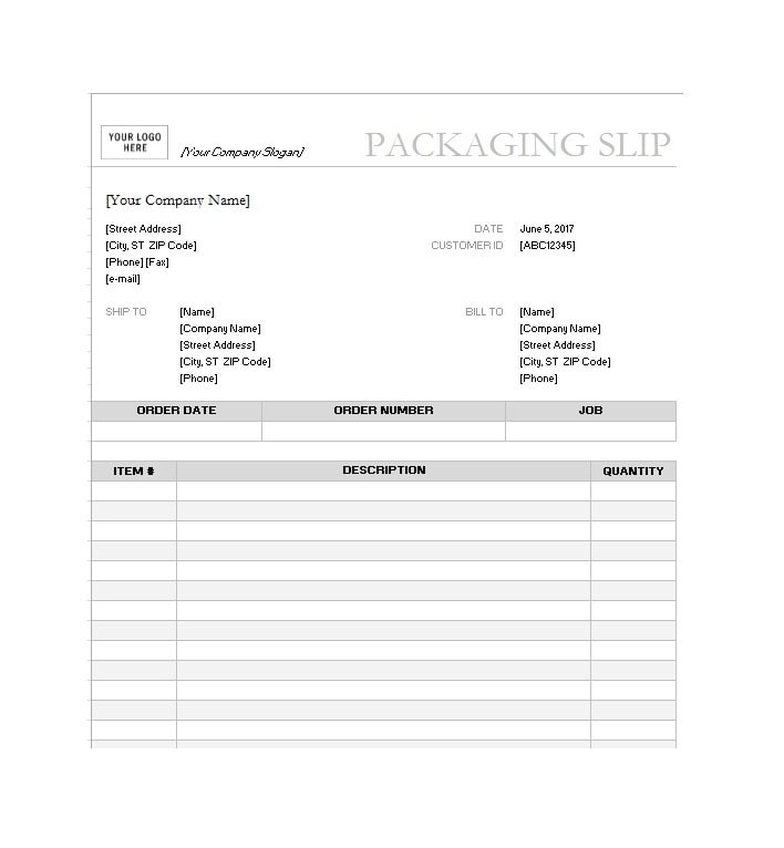 Packing Slip Templates ophion