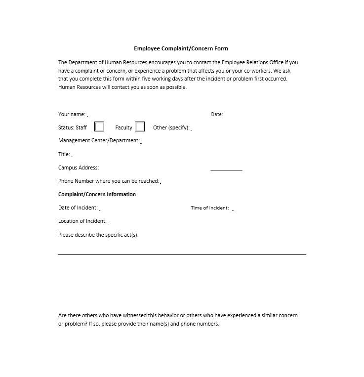 49 Employee Complaint Form  Letter Templates - Template Archive - complaints letter template