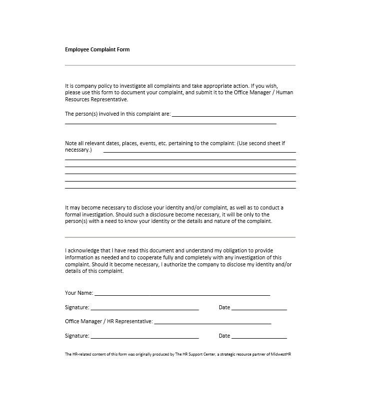 49 Employee Complaint Form  Letter Templates - Template Archive