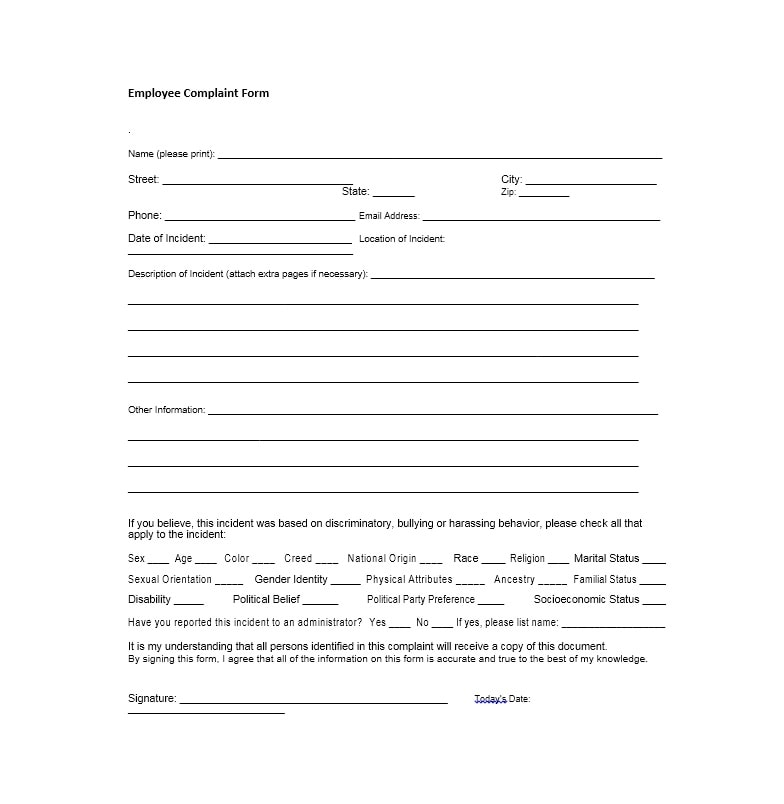 49 Employee Complaint Form  Letter Templates - Template Archive - complaint form