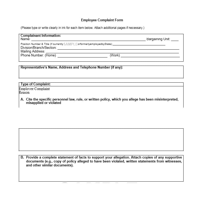 49 Employee Complaint Form  Letter Templates - Template Archive - employee forms templates