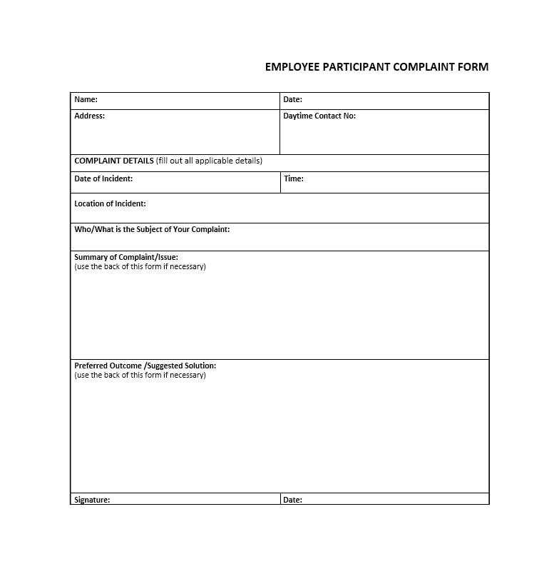 49 Employee Complaint Form  Letter Templates - Template Archive