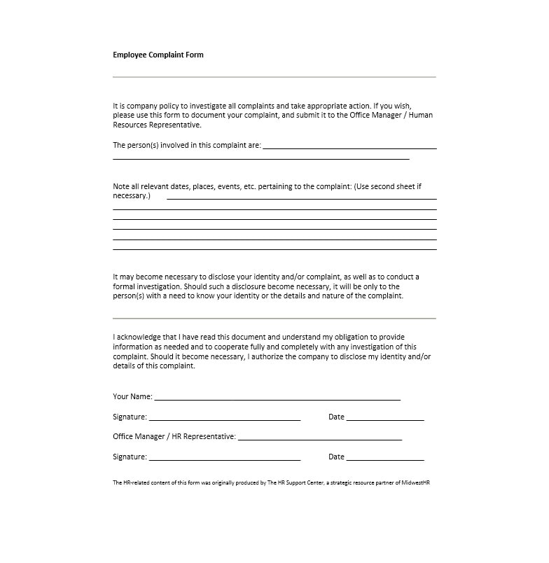 49 Employee Complaint Form  Letter Templates - Template Archive - customer complaints form template