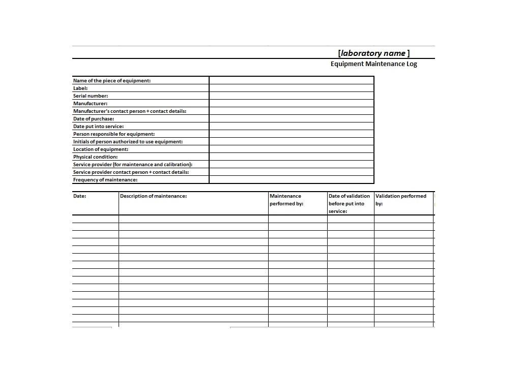 40+ Equipment Maintenance Log Templates - Template Archive