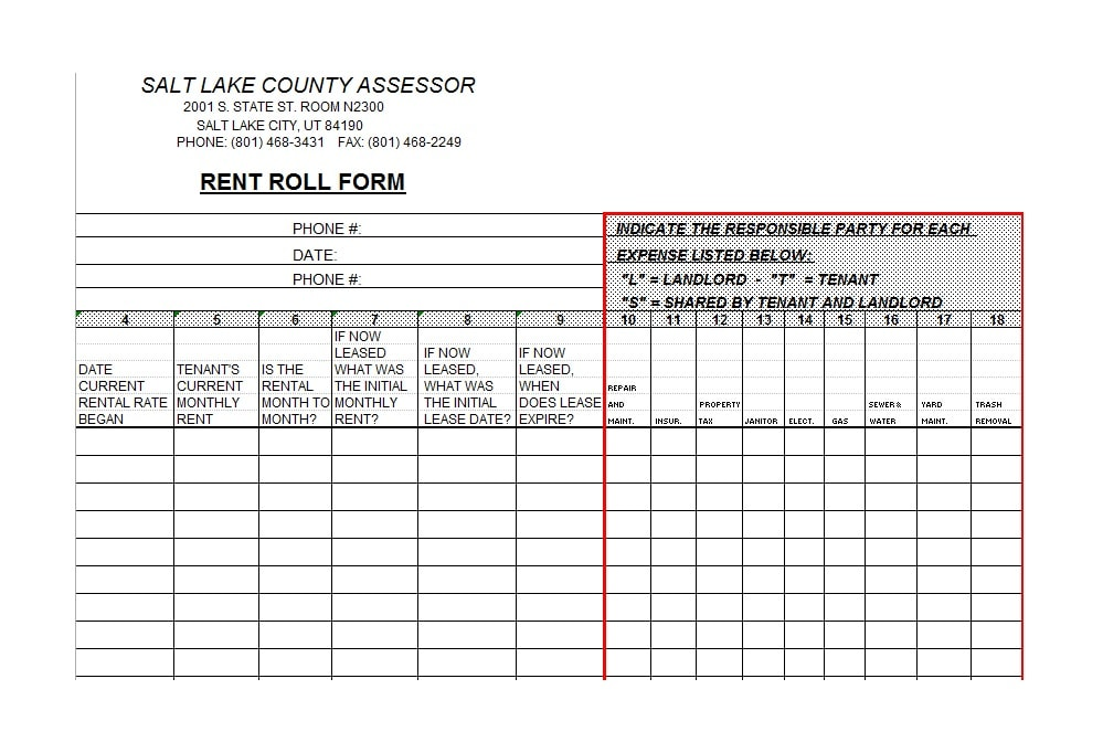 Rent Roll Form - Resume Template Sample