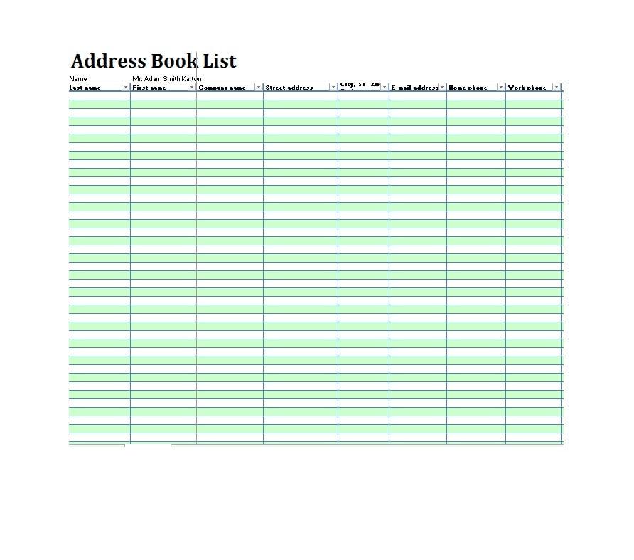 40 Printable  Editable Address Book Templates 101 FREE - address list template