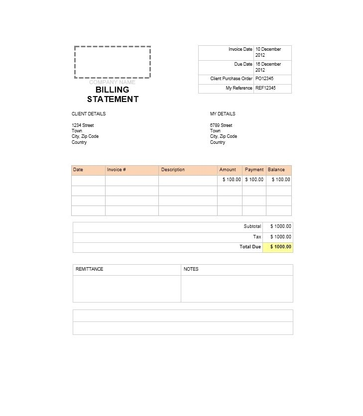 40 Billing Statement Templates Medical, Legal, Itemized + MORE - billing statement template