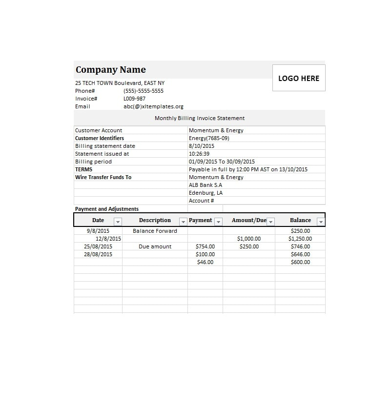 40 Billing Statement Templates Medical, Legal, Itemized + MORE