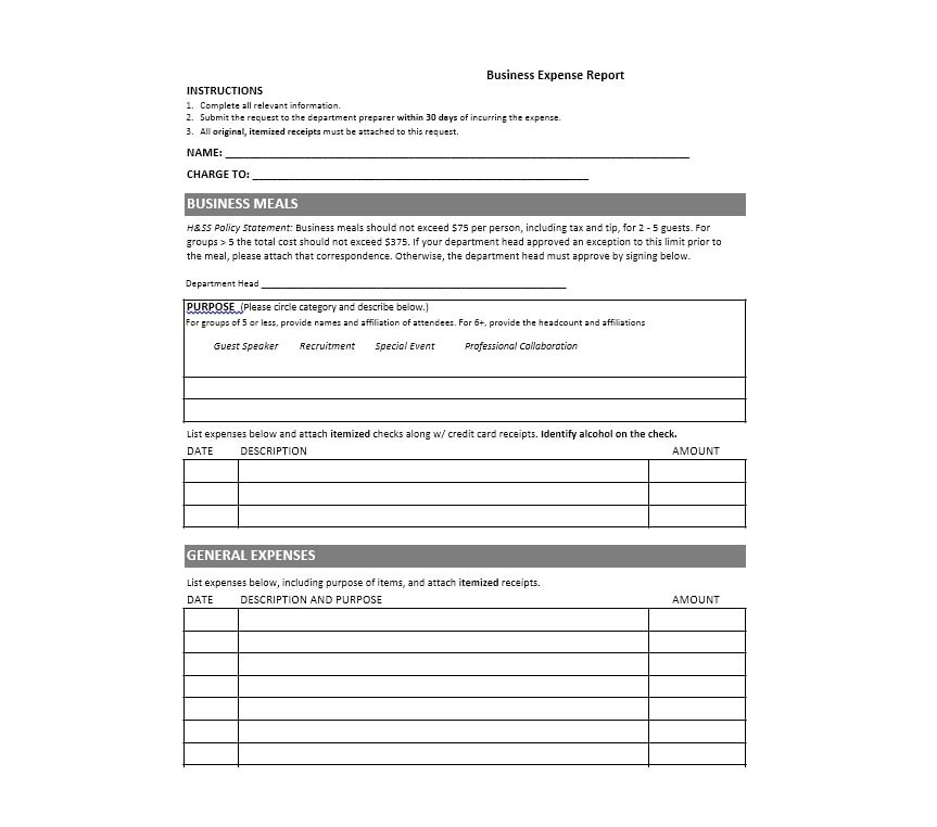 46 Travel Expense Report Forms  Templates - Template Archive - event expenses report