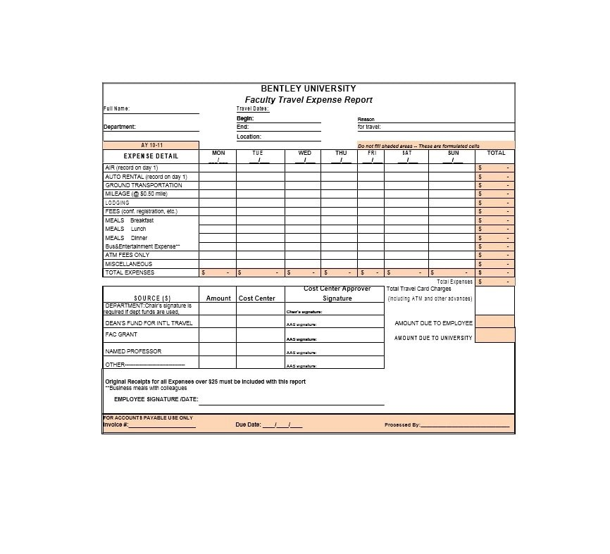 46 Travel Expense Report Forms  Templates - Template Archive