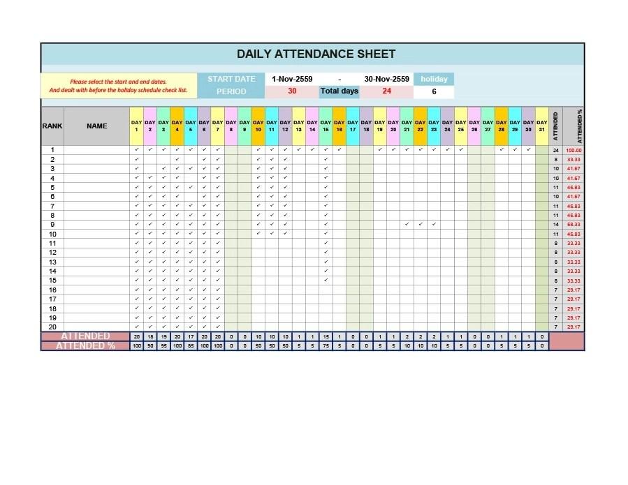 40+ FREE Attendance Tracker Templates Employee, Student, Meeting