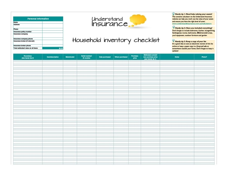 45 Printable Inventory List Templates Home, Office, Moving