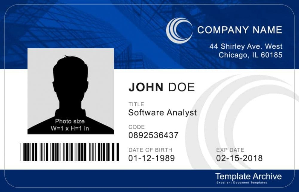 16 ID Badge  ID Card Templates {FREE} - Template Archive