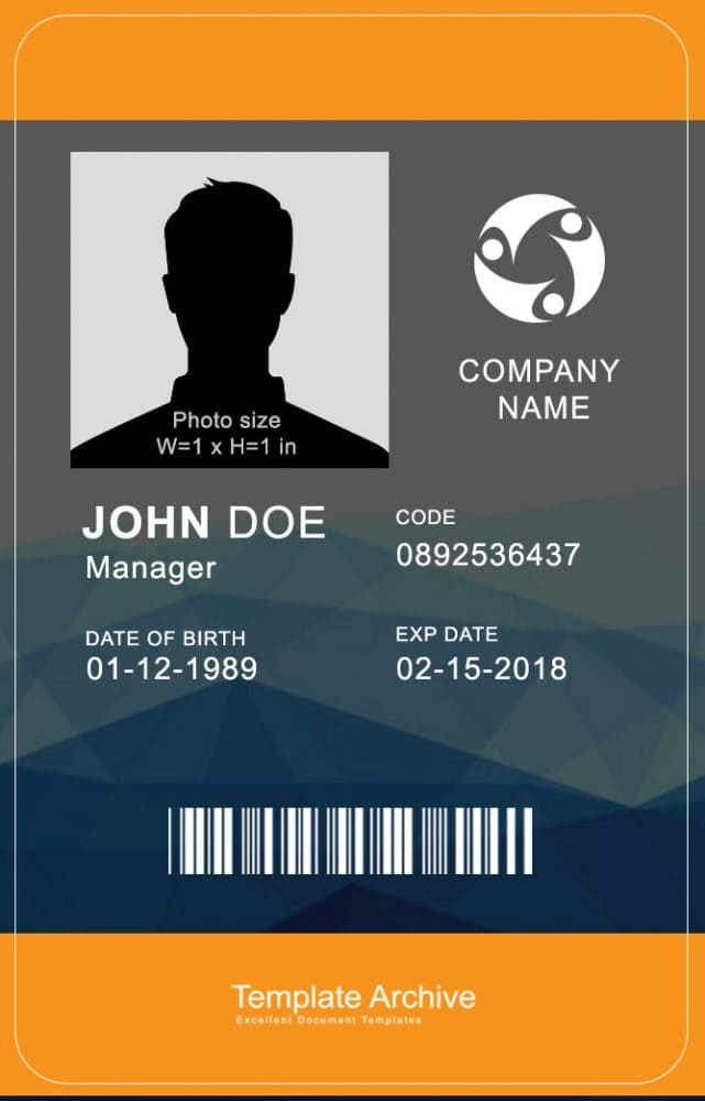 16 ID Badge  ID Card Templates {FREE} - Template Archive - free id badge templates