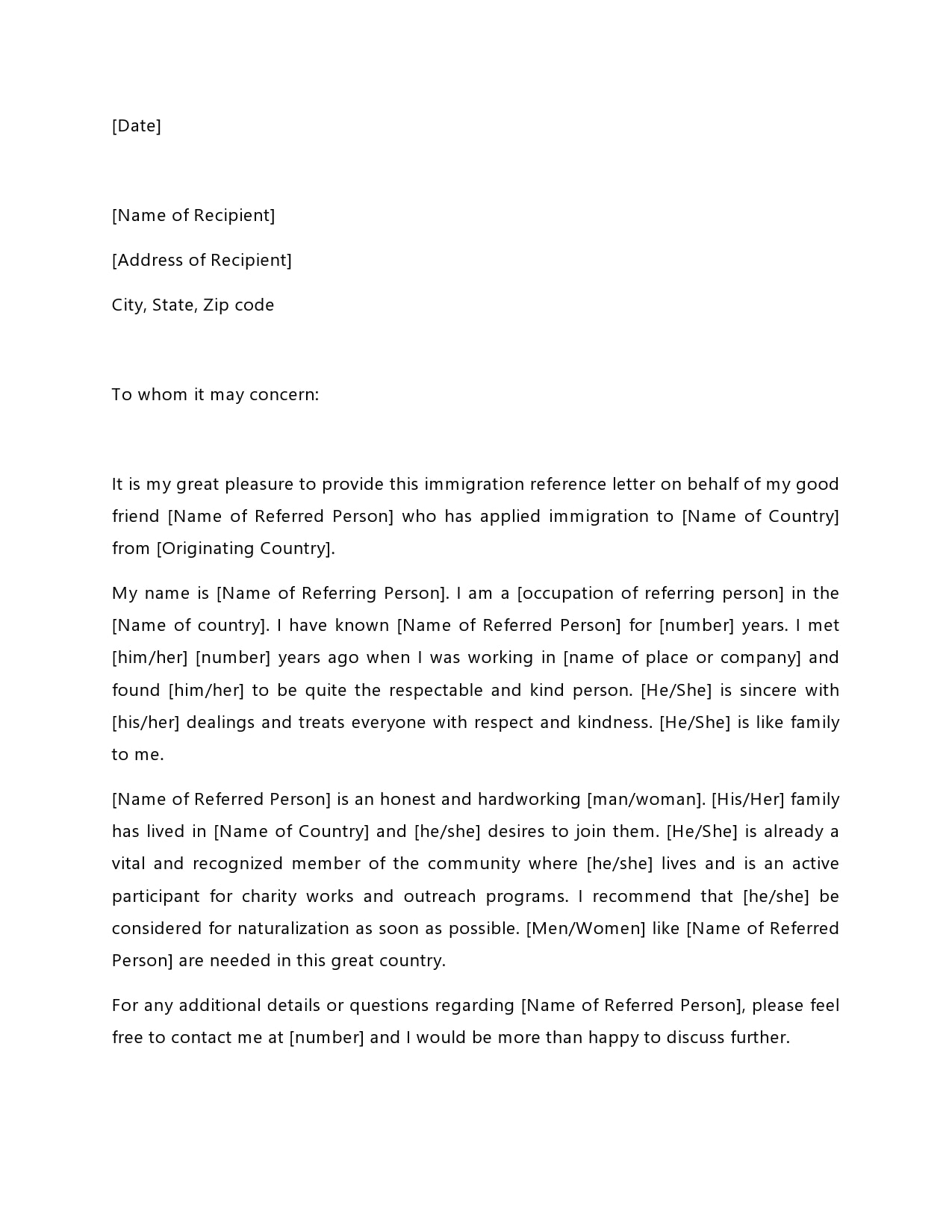 Recommendation Letter Template For Immigration  30 Best