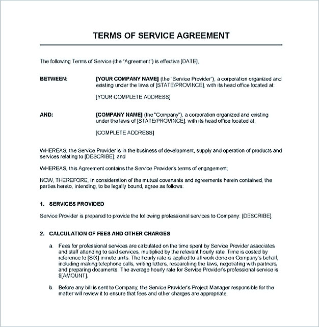 Service Contract Template and Important Terms to Write - service contract