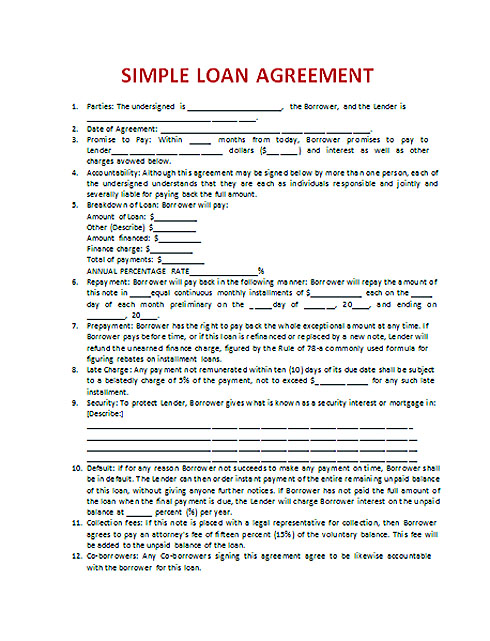 Download Loan Contract Template with Crucial Details to Note - person to person loan contract