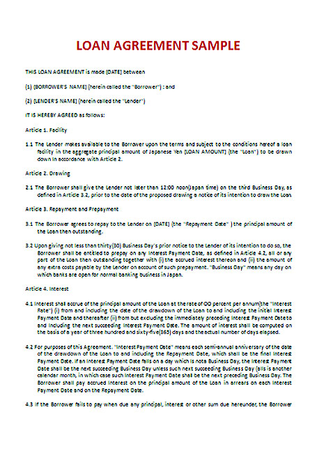 Download Loan Contract Template with Crucial Details to Note - loan agreement template doc