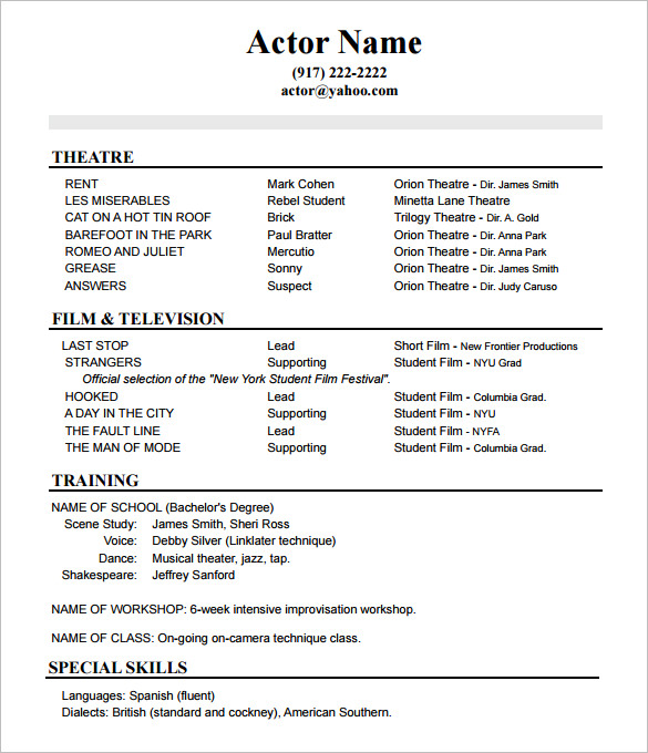 sample commercial acting resume