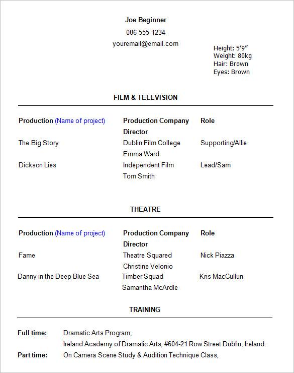 beginners acting resume template word