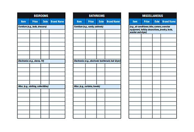 House Inventory List Template