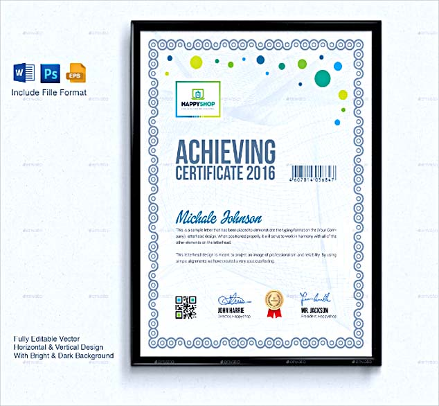 certificate design in word format