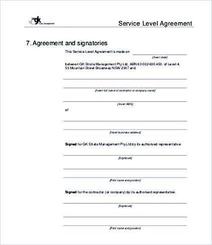 Service Level Agreement Template and Points to Understand - service level agreement template