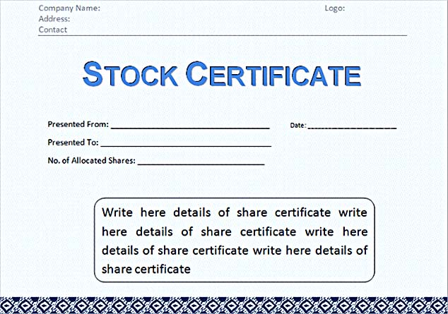 Stock Certificate Template Free in Word and PDF - certification template word