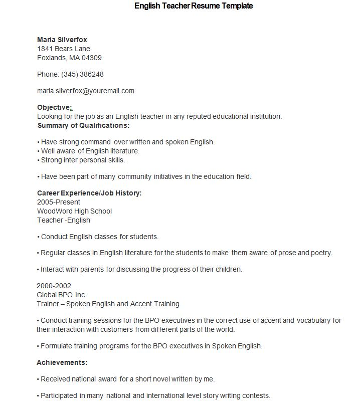 Resume In English For A Teacher