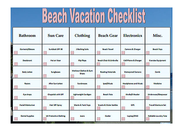 sample vacation checklist - fototango