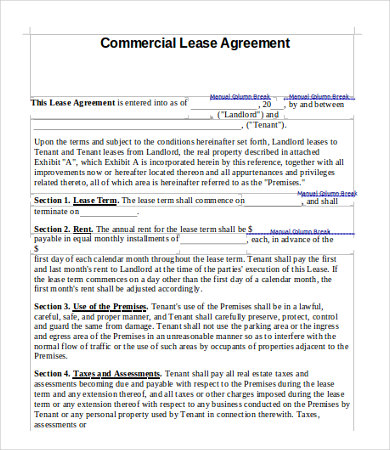 ... 11+ Simple Commercial Lease Agreement Template For Landowner And   Business  Lease Agreement Sample ...