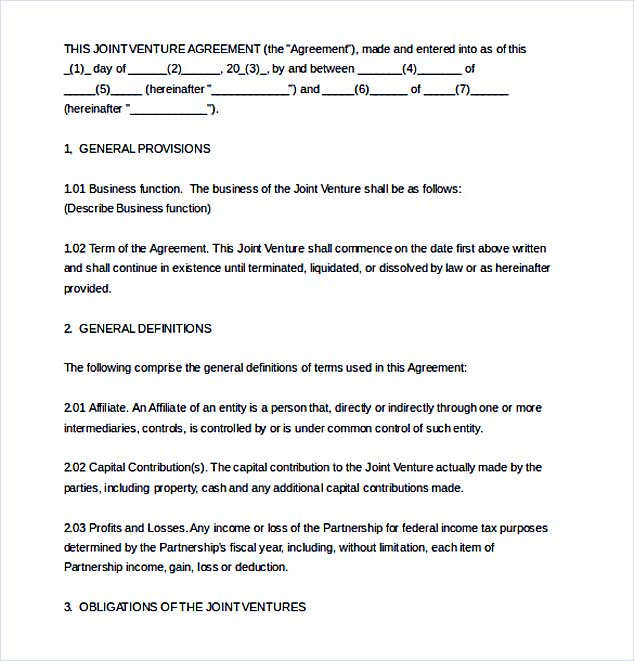 Joint Venture Agreement Template - joint partnership agreement template