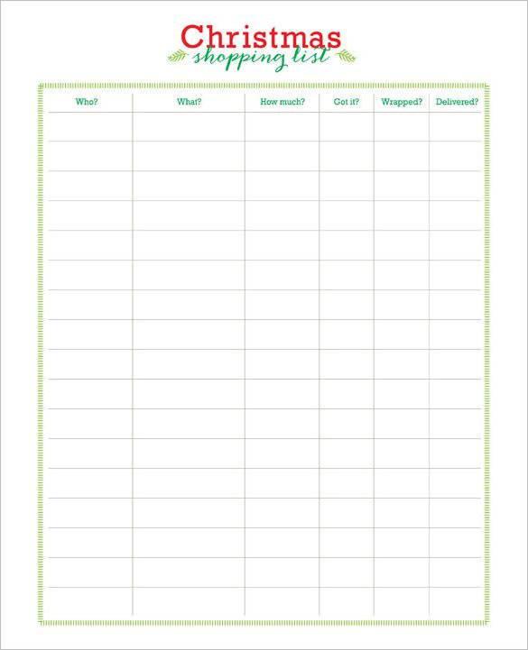 Free printable christmas list template gildthelilyco – Printable Christmas List Template