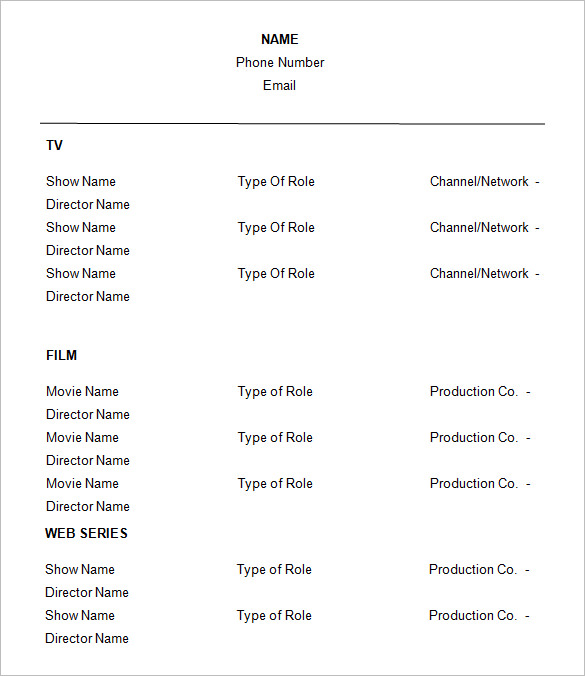 actor resume performances samples